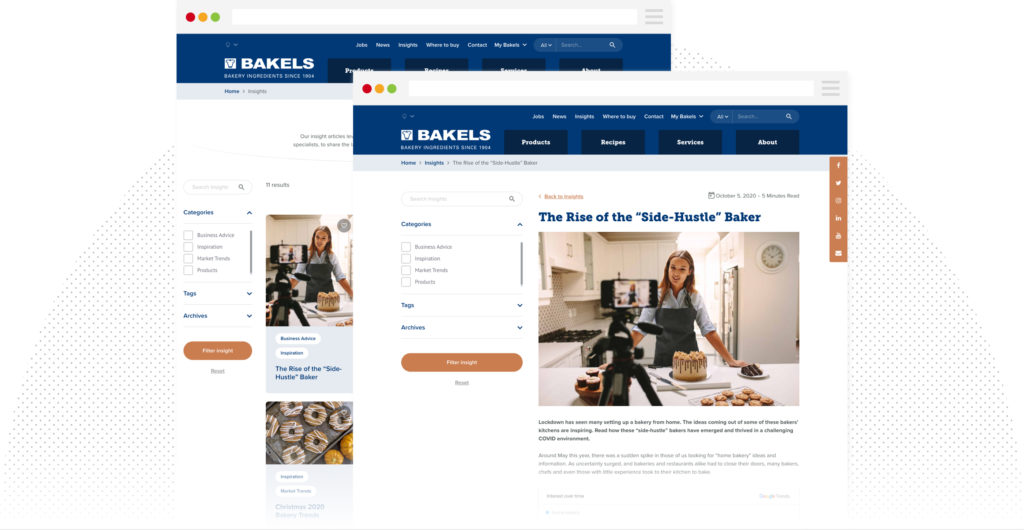 Bakels website pinterest style insights section