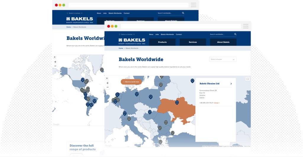 Bakels worldwide map feature