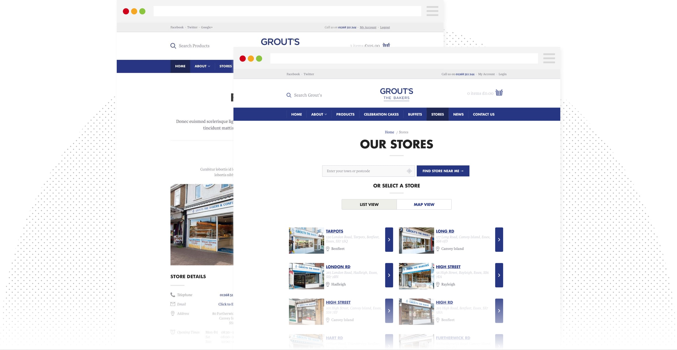 Grouts website view of their stockist locator feature