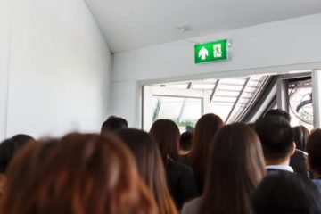 photo pf people leaving a room