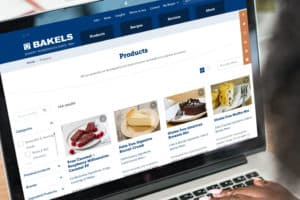 Bakels site on laptop screen