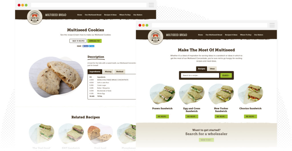 Country Oven Recipe Search Page Design