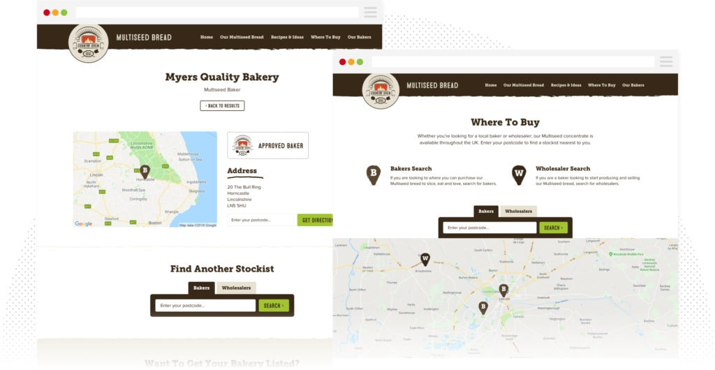 Country Oven - Stockist Locator Page Design