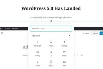 wordpress version 5.0 post editing dashboard