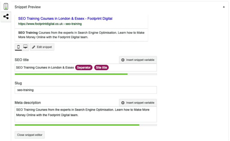 Yoast seo plugin snippet preview example