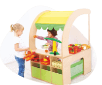 Children playing shop with Morleys Education Furniture
