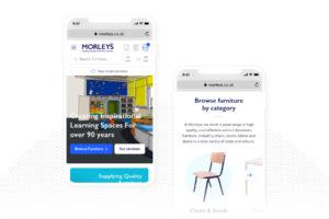 Mobile visual design of Morleys website