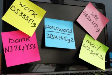 photo of passwords on post it notea
