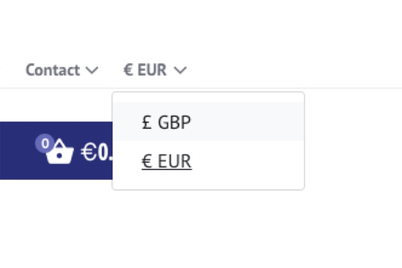 Multi-Currency functionality allowing users to switch between Sterling and Euros.