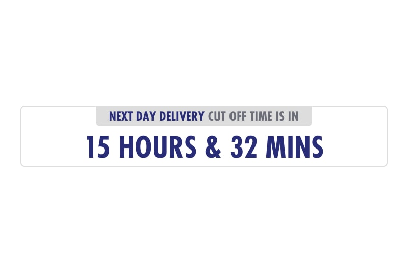 Visual countdown timer to highlight extended cut off time for next day delivery.