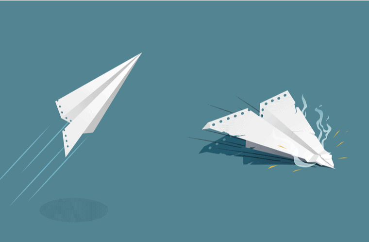 rise and fall represented with paper airplane image