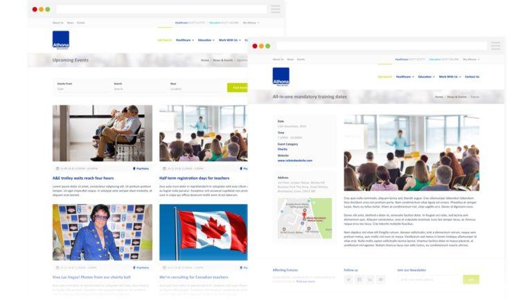 Athona - Events Page Design