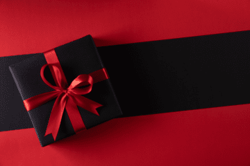 wrapped gift to represent black friday, christmas, and january sales
